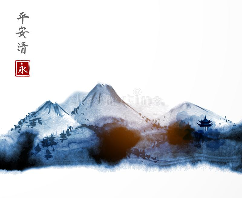 Far blue mountains hand drawn with ink. Traditional oriental ink painting sumi-e, u-sin, go-hua. Contains hieroglyphs - stock illustration
