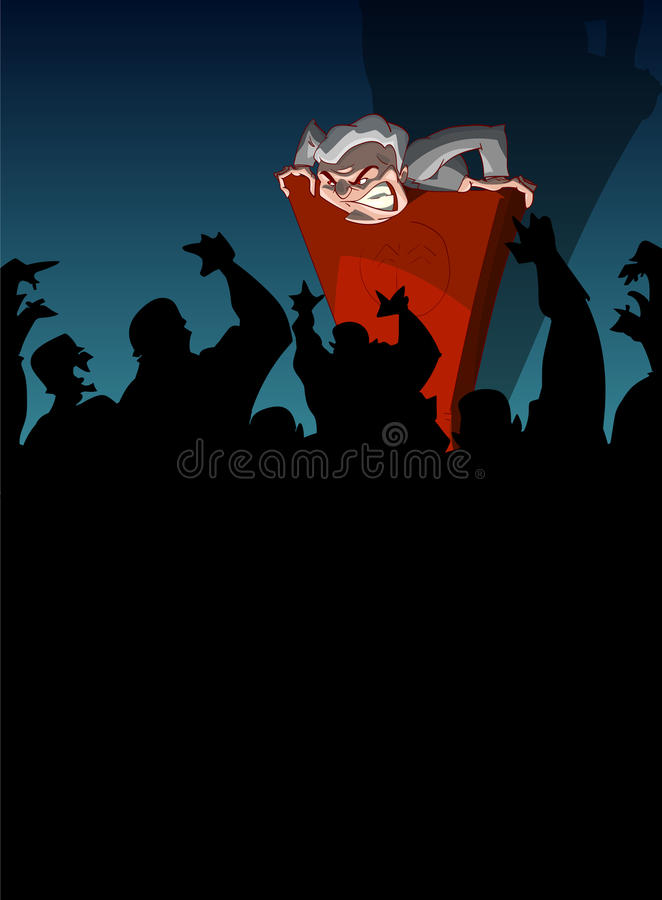 Far right politician spreading hate and propaganda. Cartoon vector illustration of a far right, nationalist politician, giving a speach from a podium, spreading stock illustration