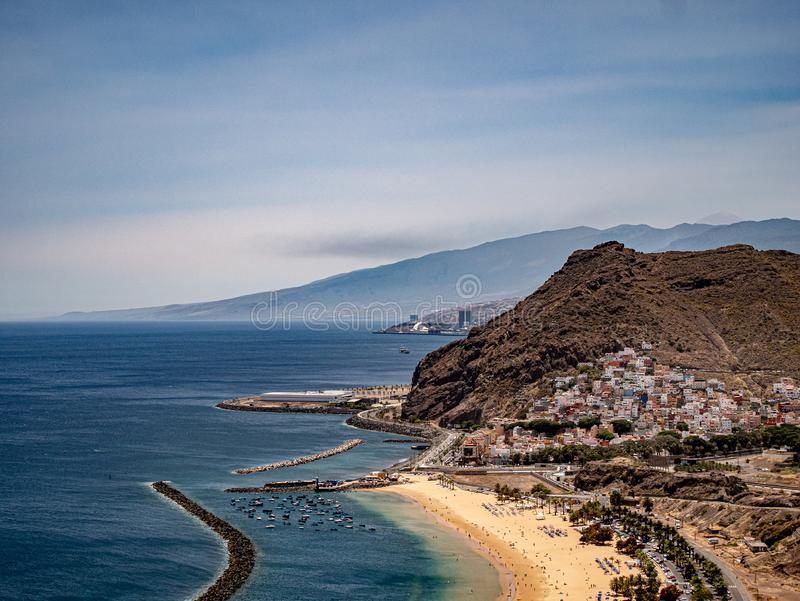 Far view of the coast with beautiful white beach royalty free stock photos