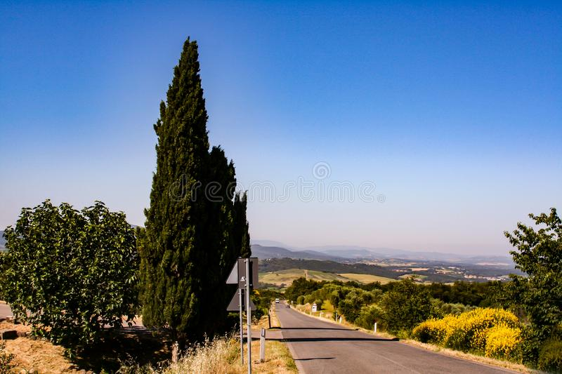 Far view on the mountain from the road royalty free stock photography