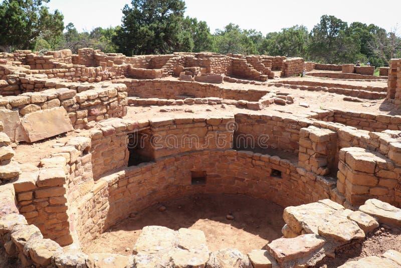 Far View Sites Masonry e Kiva, Parque Nacional Mesa Verde no Colorado foto de stock royalty free