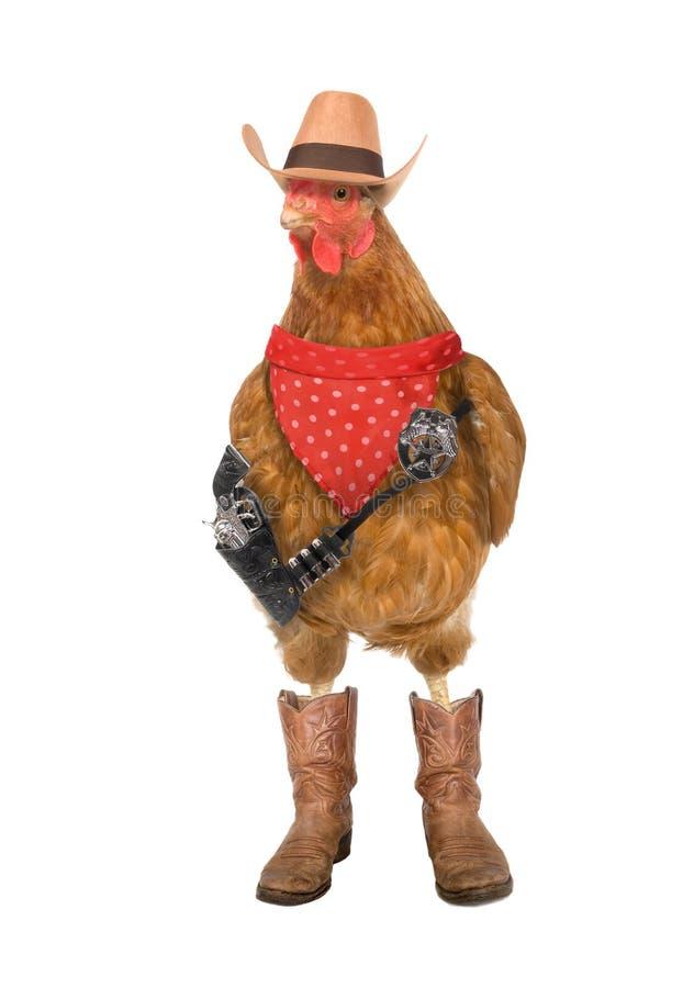 Far west chicken. Chicken dressed as a sheriff or cowboy