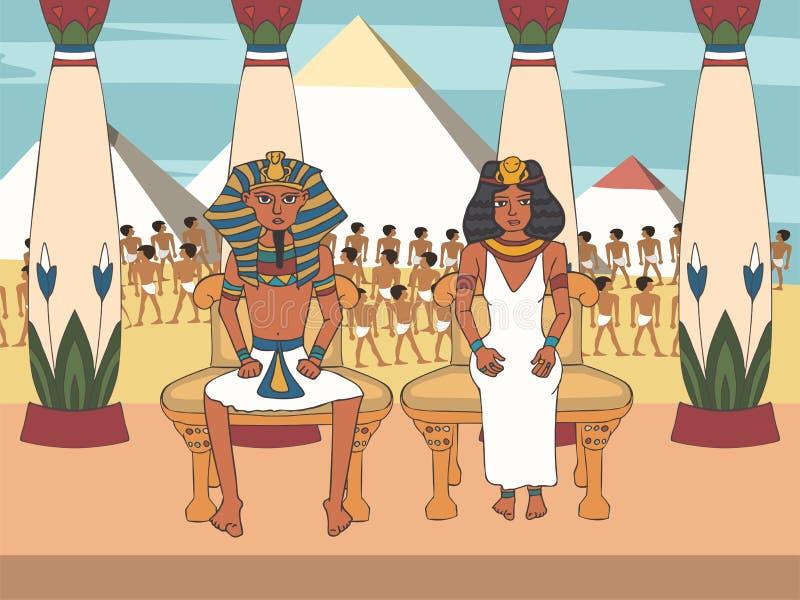 Faraó e rainha no trono no palácio com fundo egípcio das pirâmides ilustração do vetor