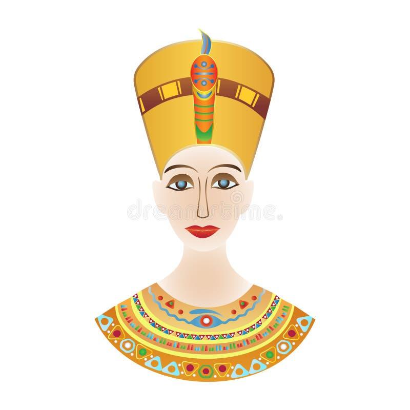Faraó egípcio Cleopatra ou Nefertiti em testes padrões coloridos ilustração do vetor