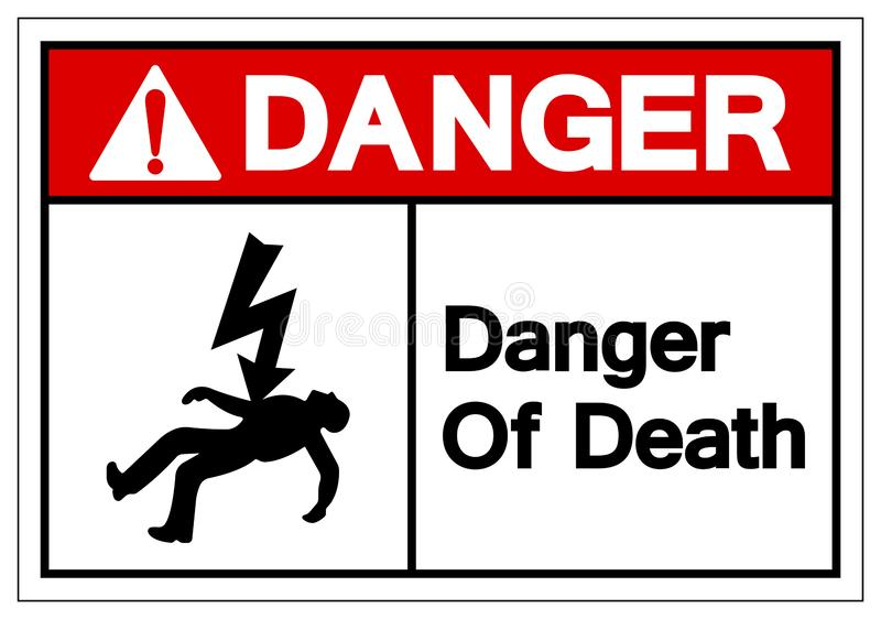 Fara av dödsymboler undertecknar, vektorillustrationen som isoleras på den vita bakgrundsetiketten EPS10 stock illustrationer