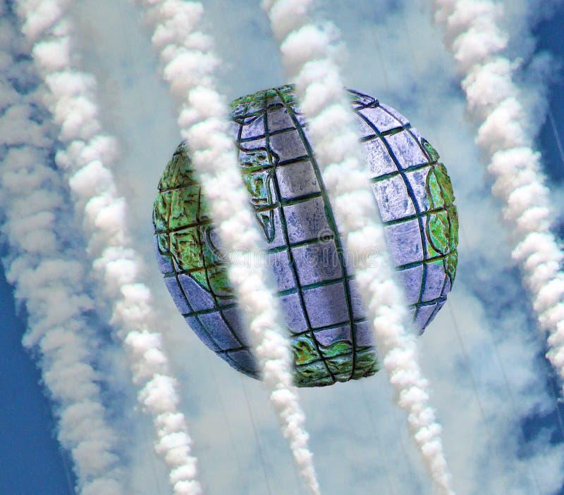 Fara Chemtrails för global miljö royaltyfria bilder