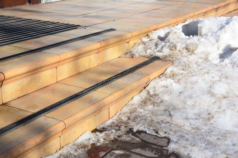 Fara fryste moment Dolt halt trappafall för is Hal gångbana med is och snö royaltyfria foton