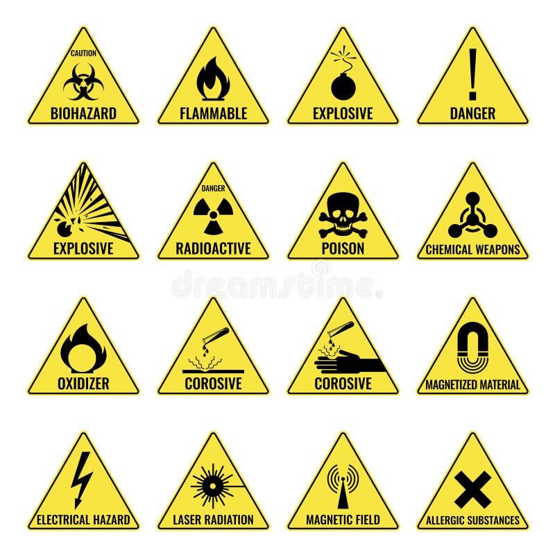 Fara som varnar den triangual gula symbolsuppsättningen på vit stock illustrationer