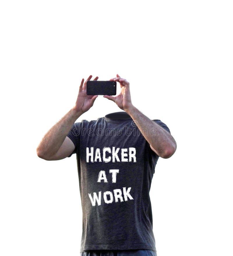 Farainternetspionerar det online-sociala massmedia en hacker fiska med drag i mobila enheten arkivbild