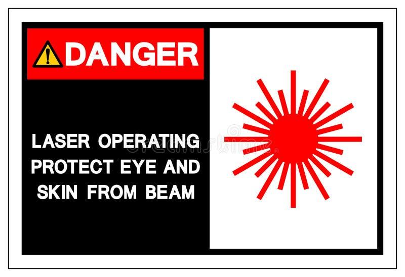 Faralaser-fungeringsen skyddar ögat och hud från strålsymboltecknet, vektorillustrationen som isoleras på den vita bakgrundsetike royaltyfri illustrationer
