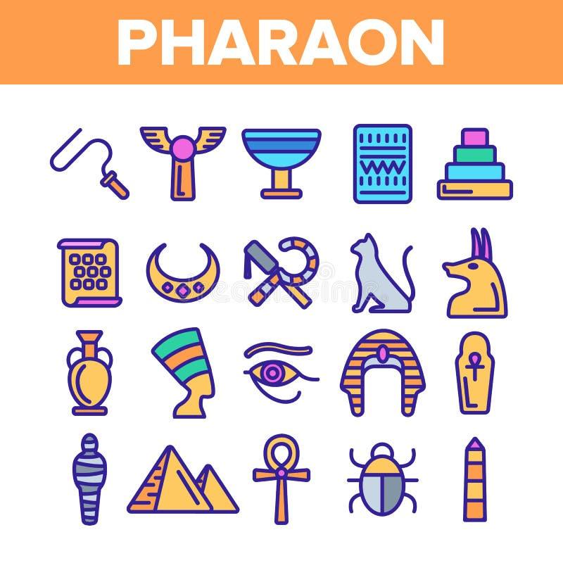 Faraone, insieme delle icone di re Vector Thin Line dell'Egitto illustrazione vettoriale