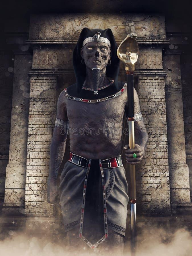 Faraone non morto in un tempio abbandonato illustrazione di stock