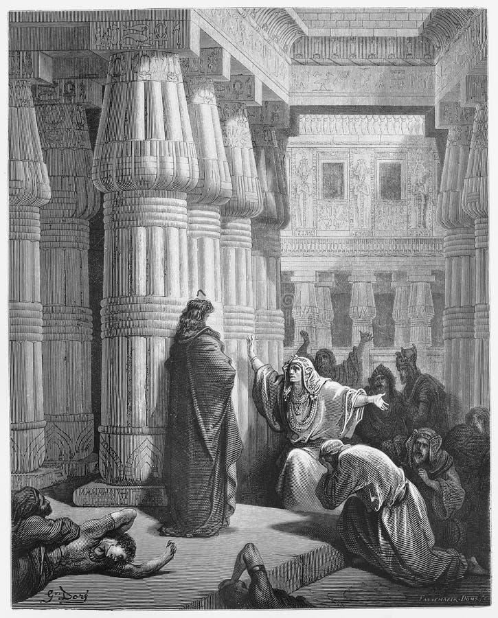 Faraoorden Mozes om Israelites te nemen stock illustratie