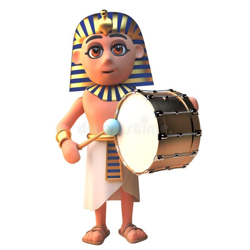 faraotecken för 3d som Tutankhamun spelar en guld- bastrumma, illustration 3d vektor illustrationer