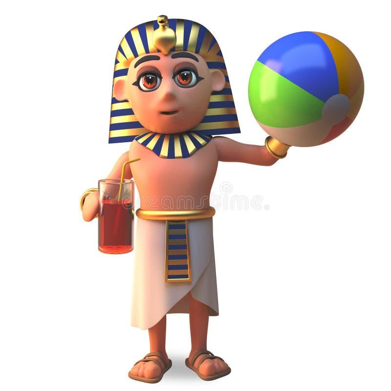 faraotecken för 3d som Tutankhamun spelar strandbollen, illustration 3d stock illustrationer
