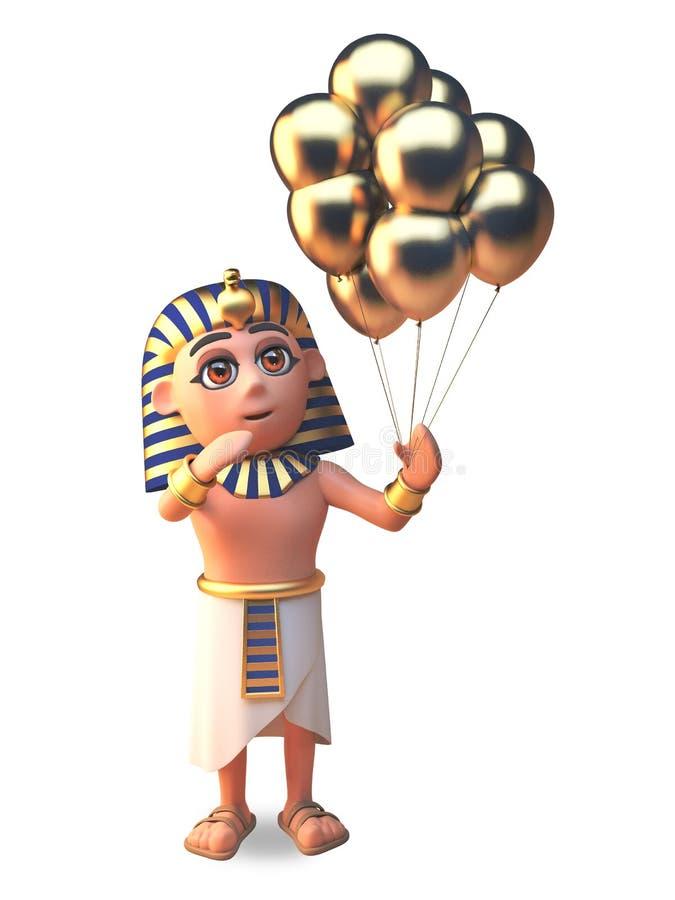 FaraoTutankhamun 3d tecken som rymmer många den guld- illustrationen för partiberömballonger 3d vektor illustrationer