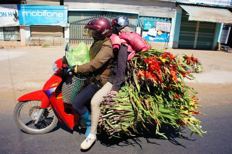 Faratrafik, transport, överbelastning, moped, Vietnam royaltyfria bilder
