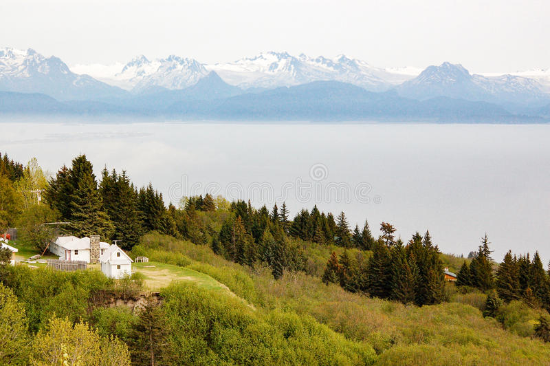 Faraway view of Katmai National Park and Preserve stock image