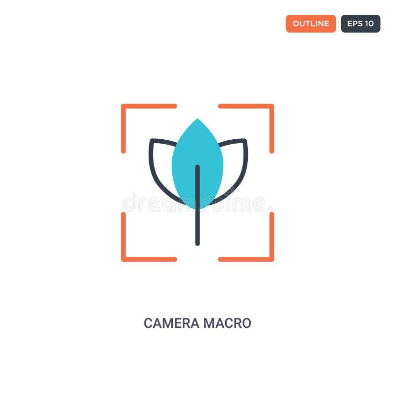 2 Farb-Camera-Makro-Konzept Linie Vektor-Symbol Einzelne zwei farbige Camera Makro-Umrisssymbol mit Blau- und Rottönen kann verwe vektor abbildung