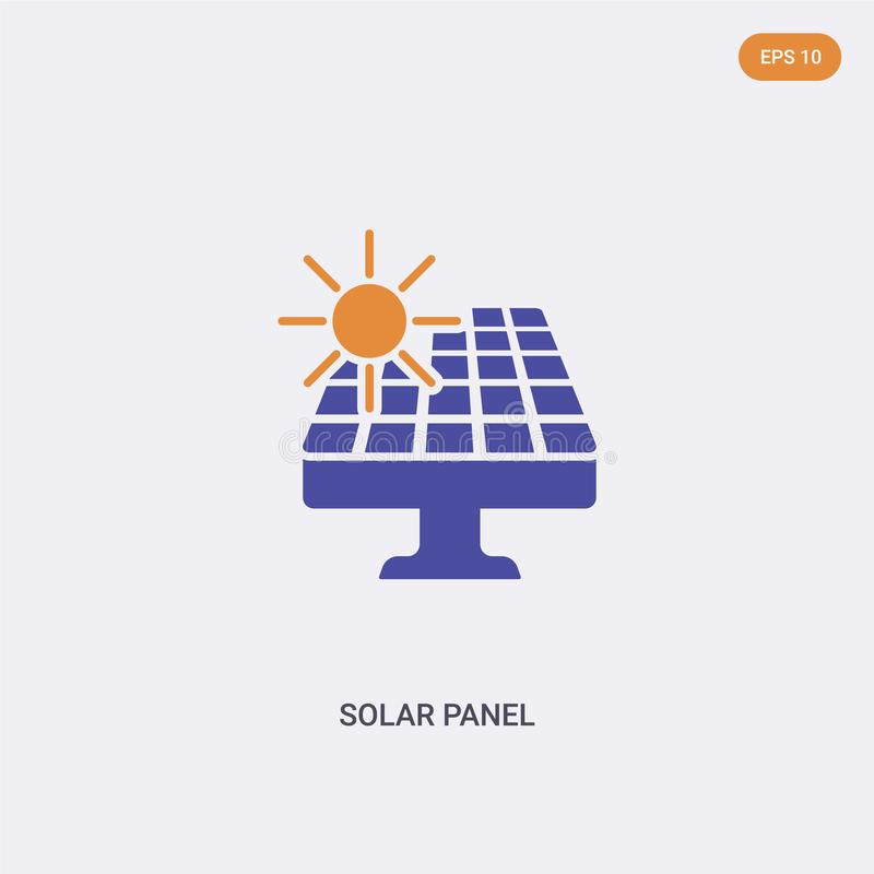 2 Farb-Solar-Panel-Symbol Symbol für zwei farbige Solarpaneelen mit blauen und orangefarbenen Farben lizenzfreie abbildung
