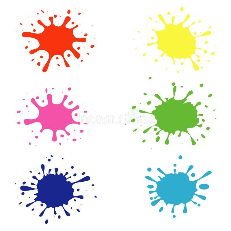 Farb splatters, pluśnięcie ustawiają odosobnionego na białym tle royalty ilustracja
