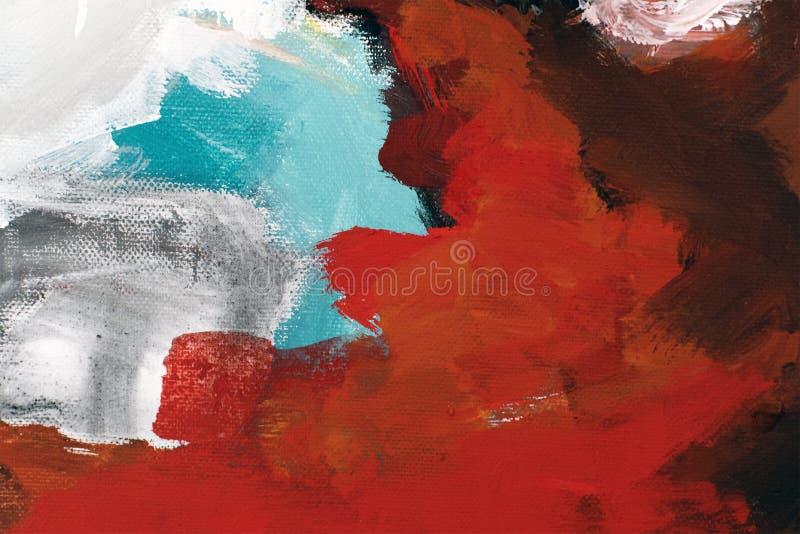 Farb uderzenia na kanwie w czerwieni, bielu, czerni i błękicie, abstrakcja zdjęcia royalty free