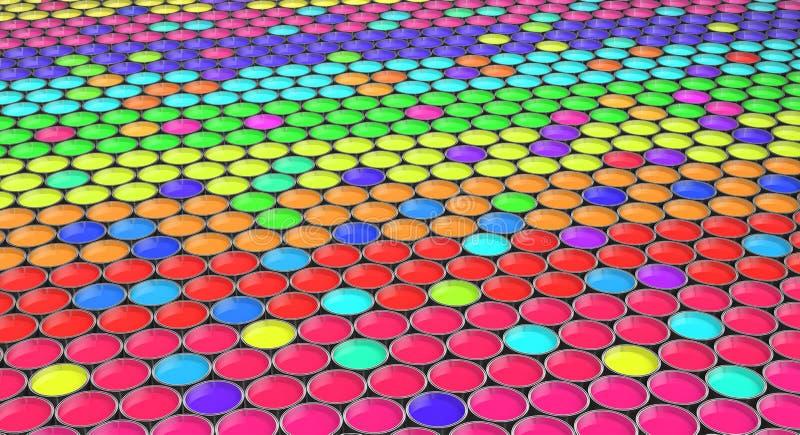 Farb wiadra z barwioną farbą - royalty ilustracja