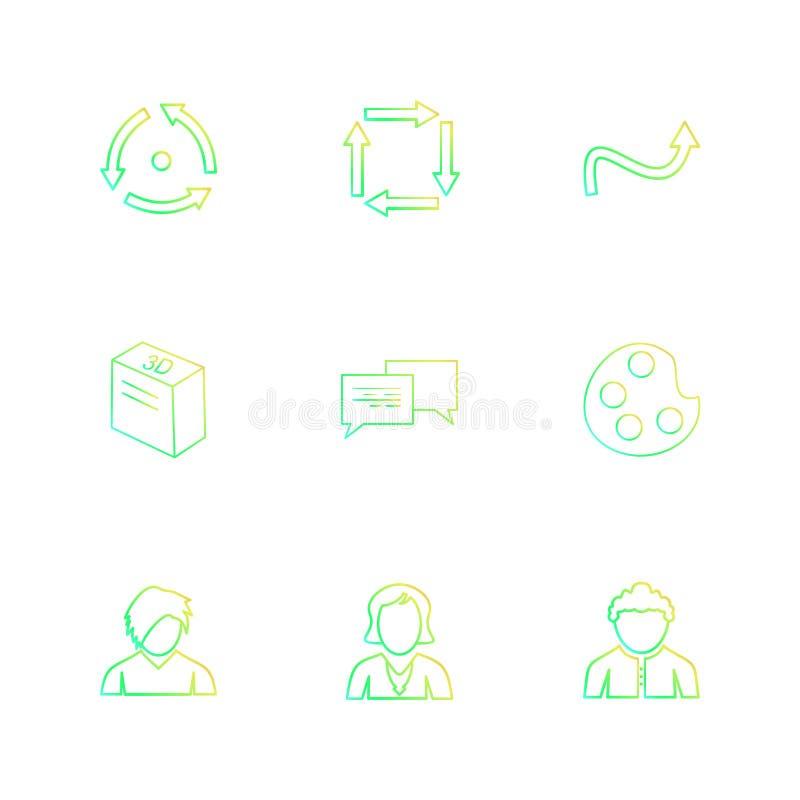 farba, avatar, wiadomość, strzała, kierunki, avatar, downlo ilustracja wektor