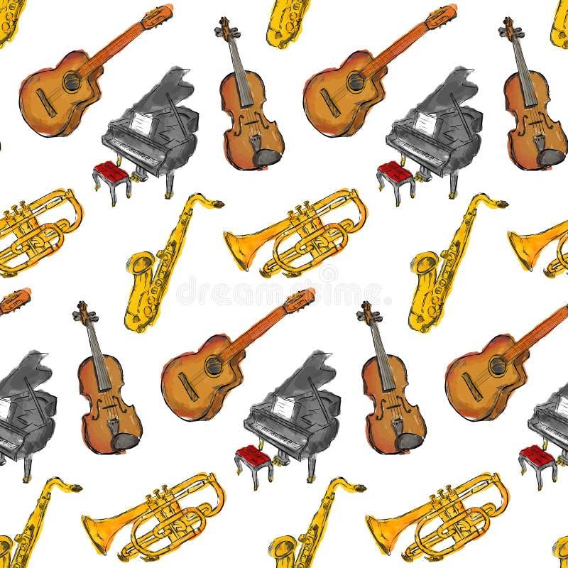 Farba instrumentów muzycznych Bezszwowy wzór ilustracja wektor