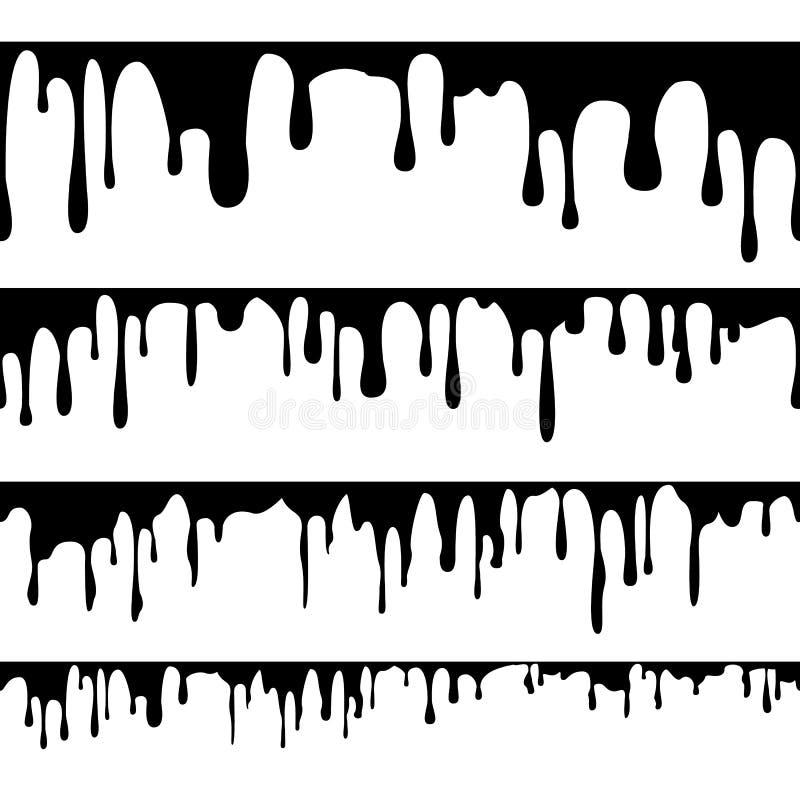 Farba Kapiący Ciekły wektor Horyzontalny bezszwowy Abstrakcjonistyczny atrament, farba przepływy grunge projektu button ręce s pu ilustracji