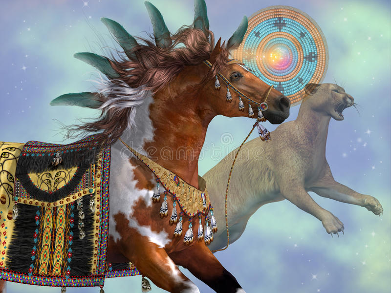 Rok kuguara koń royalty ilustracja