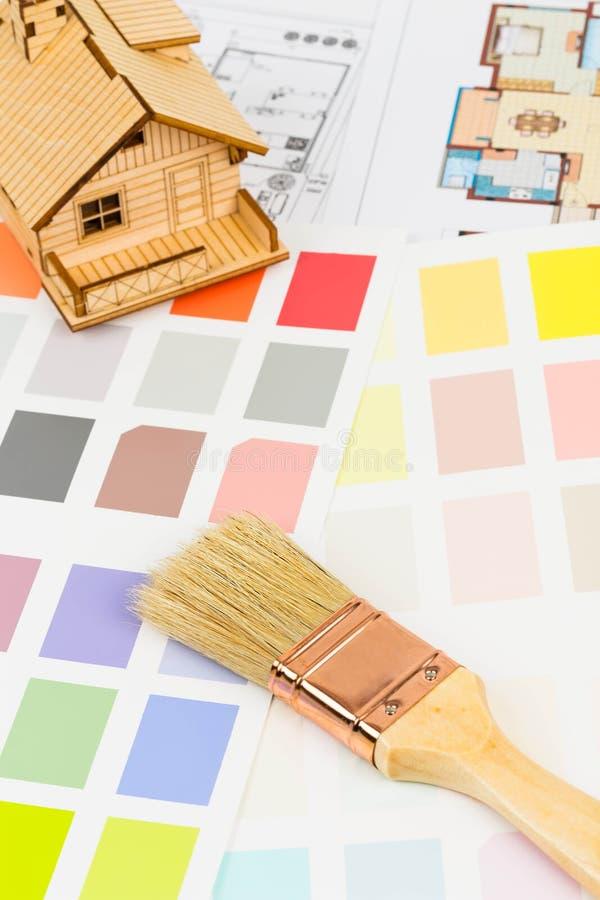Farba koloru próbki katalog z muśnięciem, rysuje fotografia royalty free