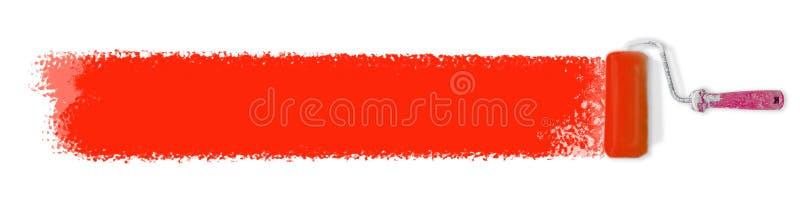 Farba rolownik z czerwonym farby uderzeniem odizolowywającym na białym tle obrazy stock