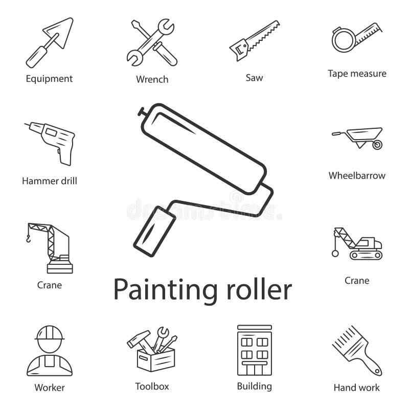 Farba rolownika ikona Prosta element ilustracja Farba rolownika symbolu projekt od budowy kolekci setu Może używać dla sieci a ilustracja wektor