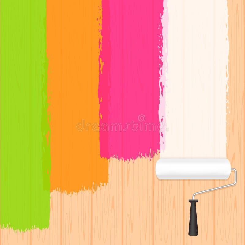 Farba rolownika kolory na drewnianej ścianie dla sztandaru tła i kopia teksta astronautycznej reklamy, farby muśnięcia rolown ilustracja wektor