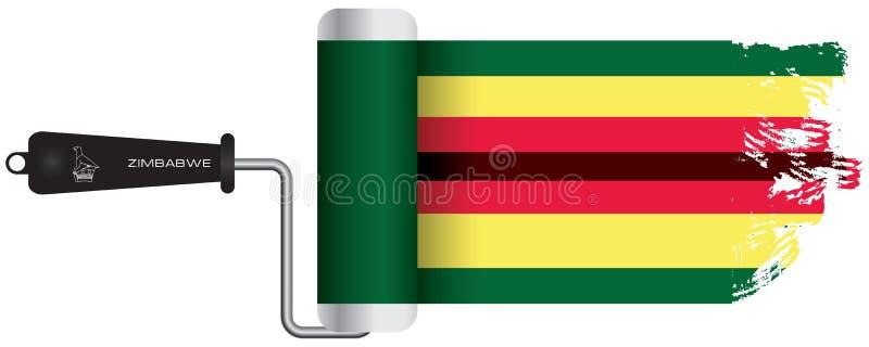 Farba rolownika Zimbabwe flaga ilustracja wektor