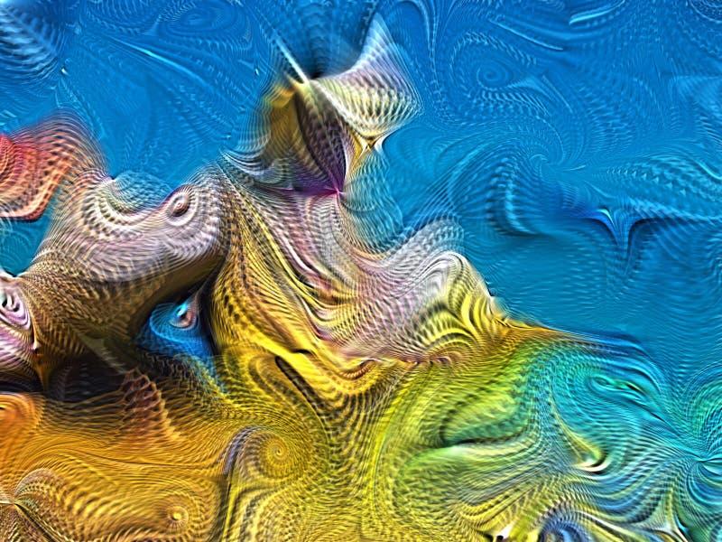 Farba zawijasów abstrakcjonistyczny tło w lato plaży barwi Cyfrowego kolor na temat sztuki, projekta i twórczości, zdjęcie royalty free