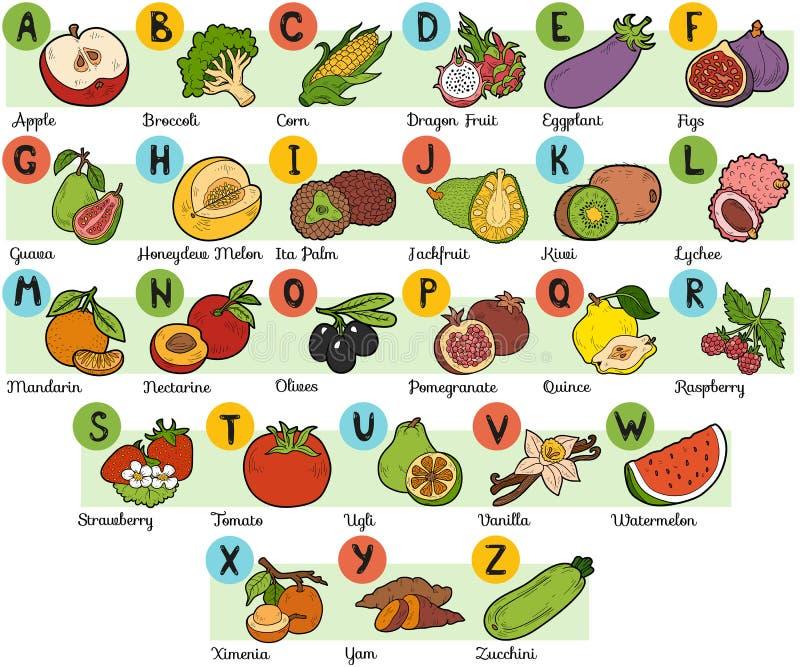 Farbalphabet f r kinder obst und gem se vektor abbildung - Obst und gemuseplatte fur kindergarten ...