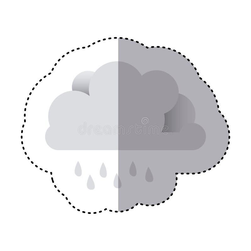 Farbaufkleber der Wolke mit Nieselregen lizenzfreie abbildung