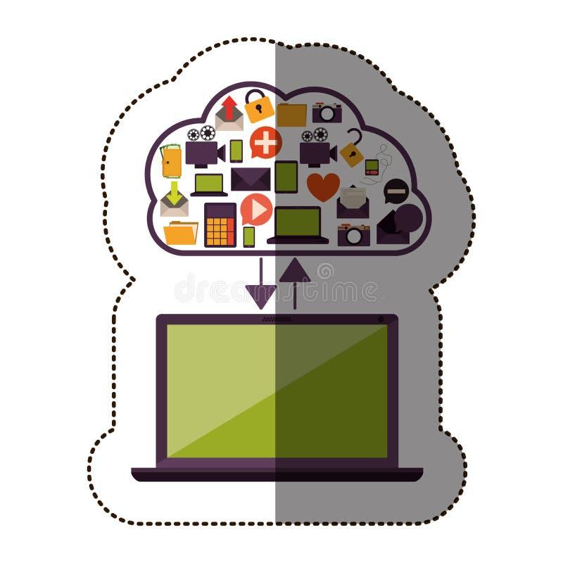Farbaufkleber mit Wolkenservice mit den apps eingestellt und Laptop-Computer vektor abbildung