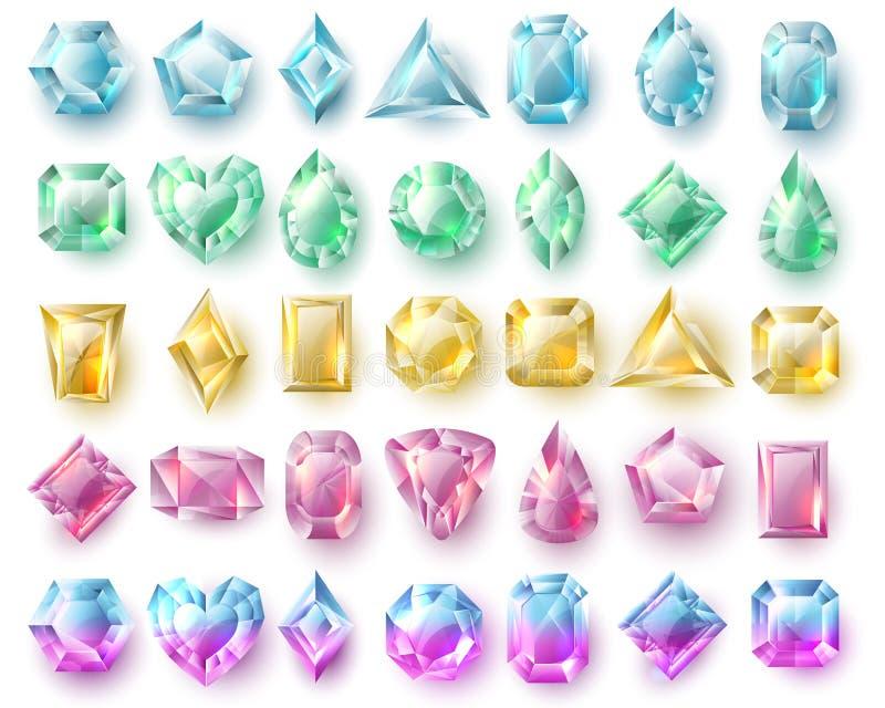 Farbausschnittedelsteine, Natur brilliants Edelsteine und Diamantvektor stellten auf weißen Hintergrund ein stock abbildung