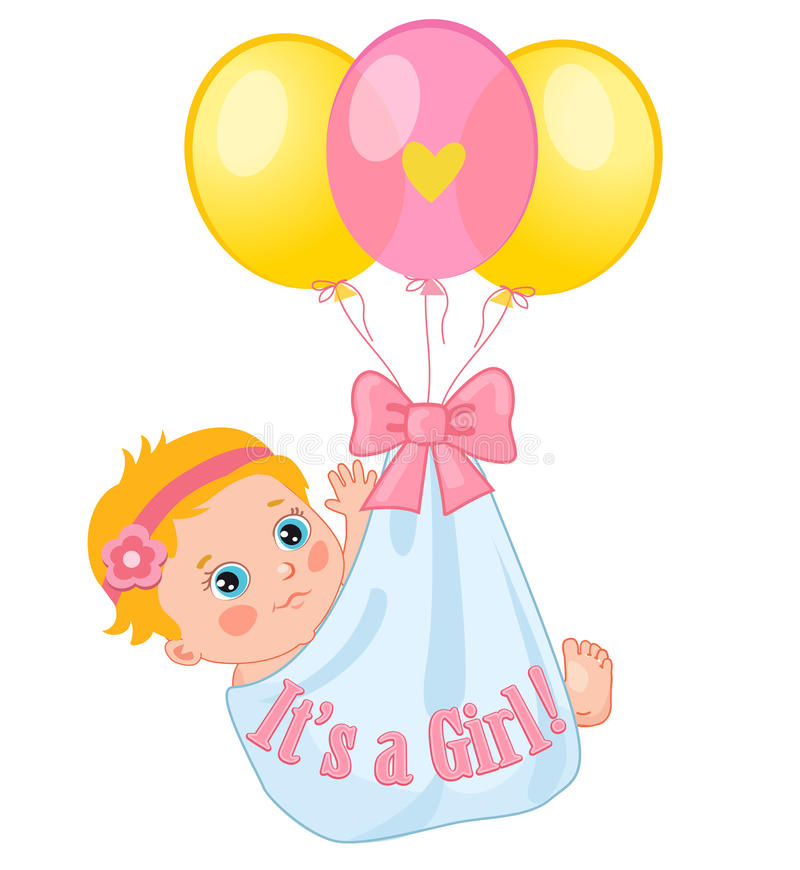Farbballone, die ein nettes Baby tragen Baby-Vektor-Illustration Nette Karikaturschätzchen stock abbildung