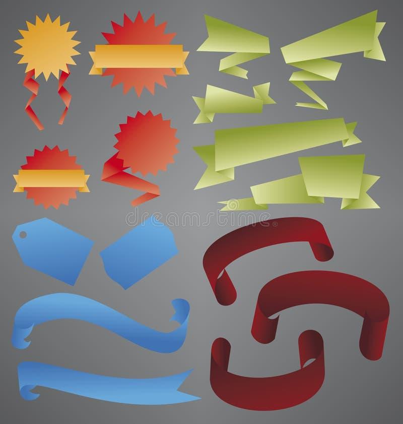 Farbband- und Fahnenansammlung stockbild