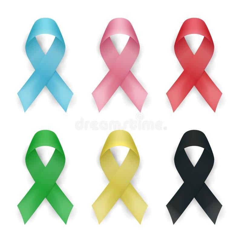 Farbbewusstseinsband-Vektorsatz Krebsbänder lokalisiert auf weißem Hintergrund Auch im corel abgehobenen Betrag vektor abbildung