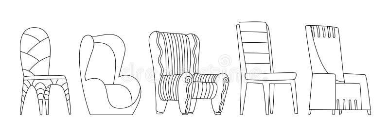 Farbbuchseite Stuhlvektor bequemer Sitz für den Innenstil Design der modernen Stuhl- und Sesselliftbildertechnik vektor abbildung