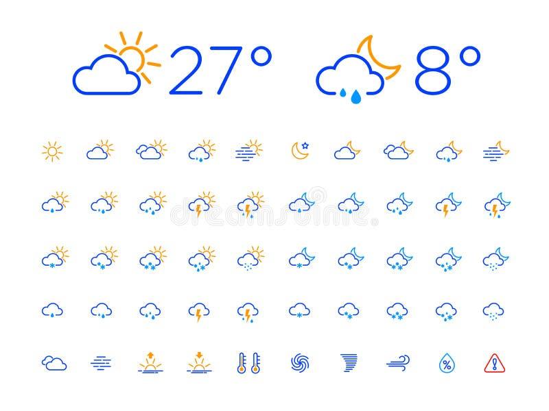 Farbdünne Linie Tagesnachtwetter-Ikonen-Satz lizenzfreie abbildung