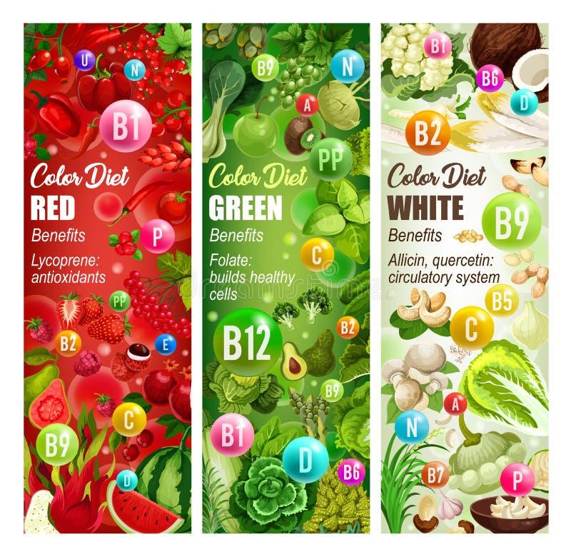 Farbdiät-Vitaminnahrung Gemüse, Früchte, Nüsse lizenzfreie abbildung