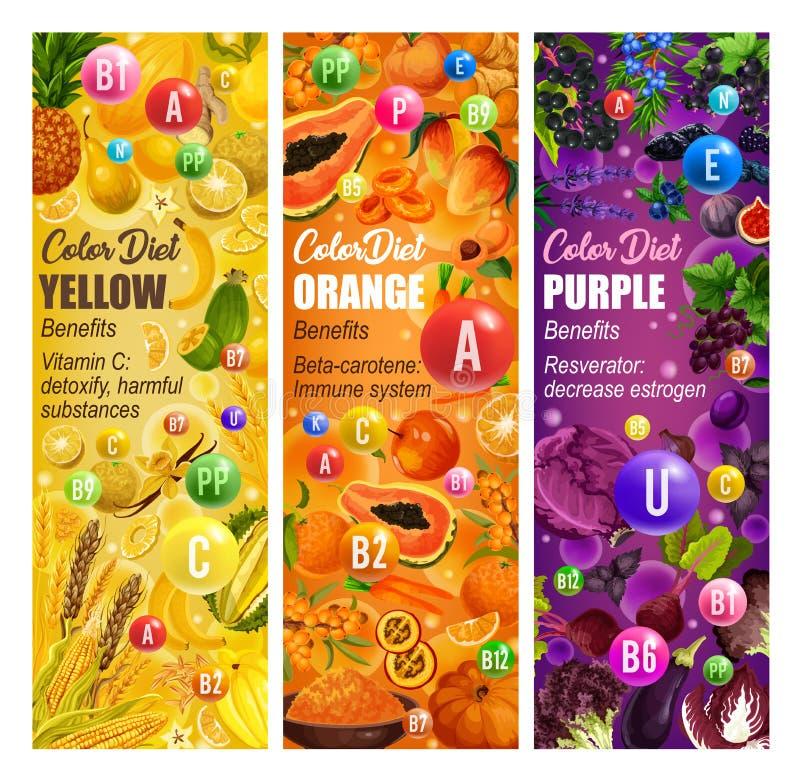 Farbdiätobst und gemüse - Vitaminlebensmittel vektor abbildung
