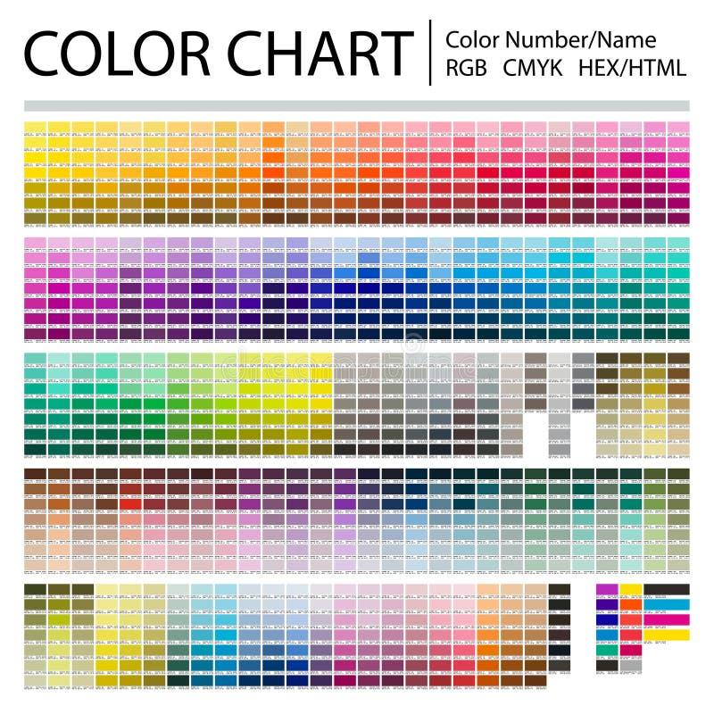 Farbdiagramm Druck-Test-Seite Farbzahlen oder -namen RGB, CMYK, Pantone, HEXEN-HTML-Codes Vektorfarbpalette stockfotos