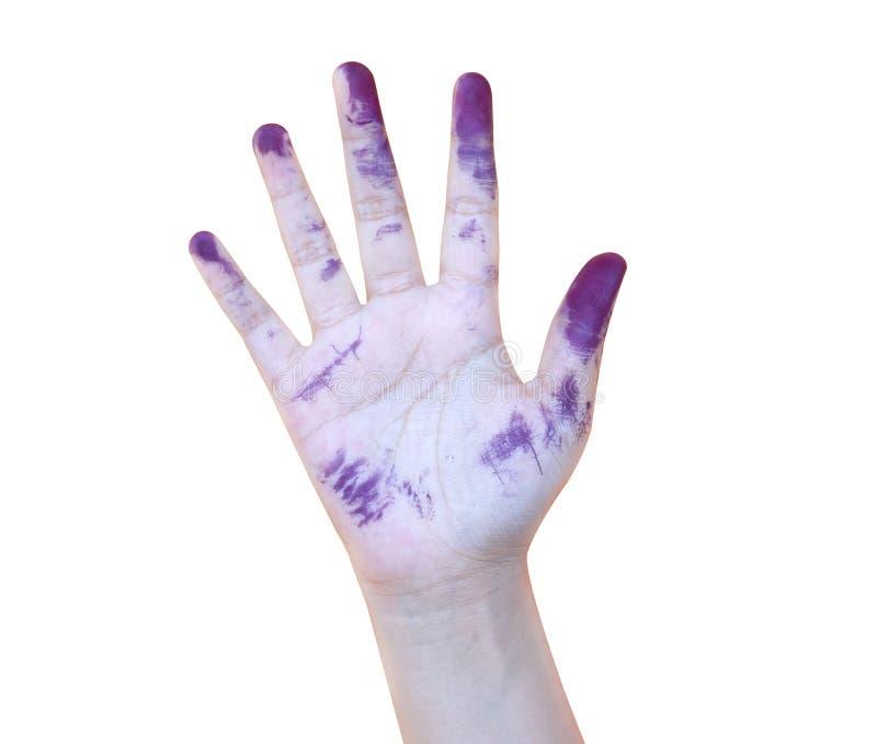 Farbe, Blau, Hand, Kind, Lokalisiert, Schmutzig, Unordentlich, Spaß ...